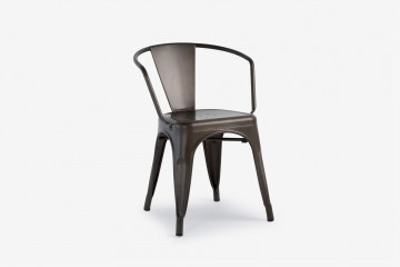 Antibes Steel Arm Chair - Gun Metal