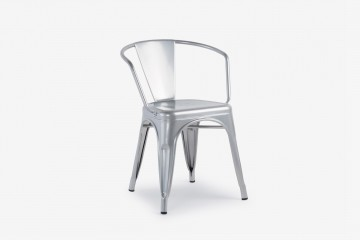 Antibes Stacking Steel  Arm Chair - Silver