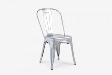 Antibes Stacking Steel Side Chair - Silver
