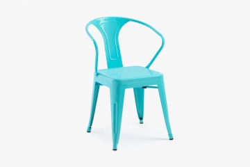 Cancun Stacking Steel Arm Chair - Sky Blue