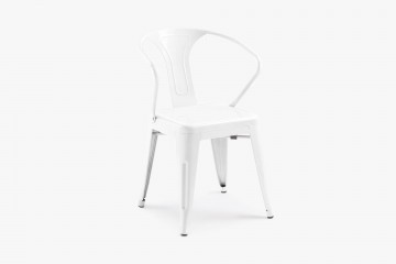 Cancun Stacking Steel Arm Chair - White