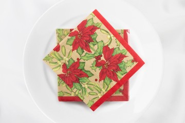 Napkin - Red Poinsetta -