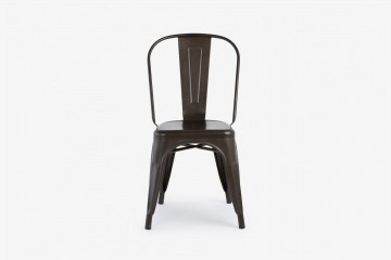 Antibes Stacking Steel Side Chair - Gun Metal