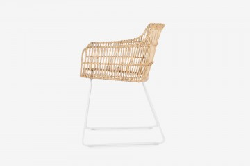 Bogor Rattan Dining Arm Chair - MS White